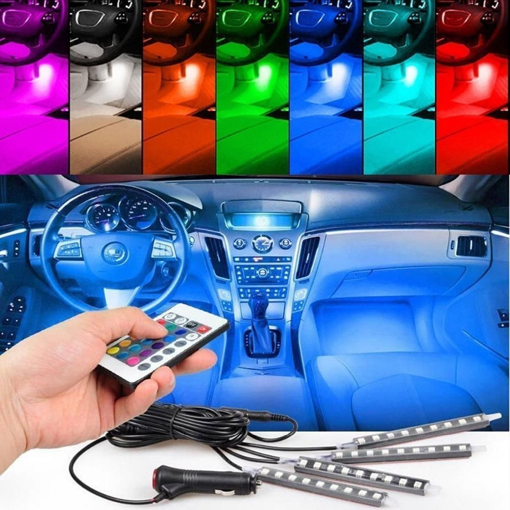 4pcset 7 Color Led Car Interior Lighting Kit Car Styling Interior