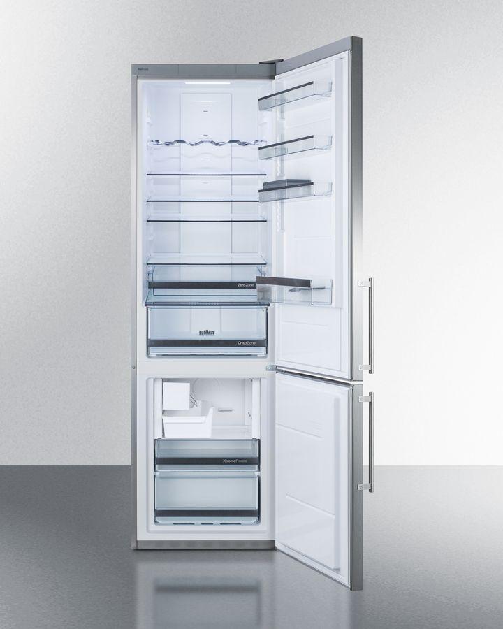 Built In European Counter Depth Bottom Freezer Refrigerator With Stainless Steel Doors Platinum Cabin Bottom Freezer Bottom Freezer Refrigerator Glass Shelves