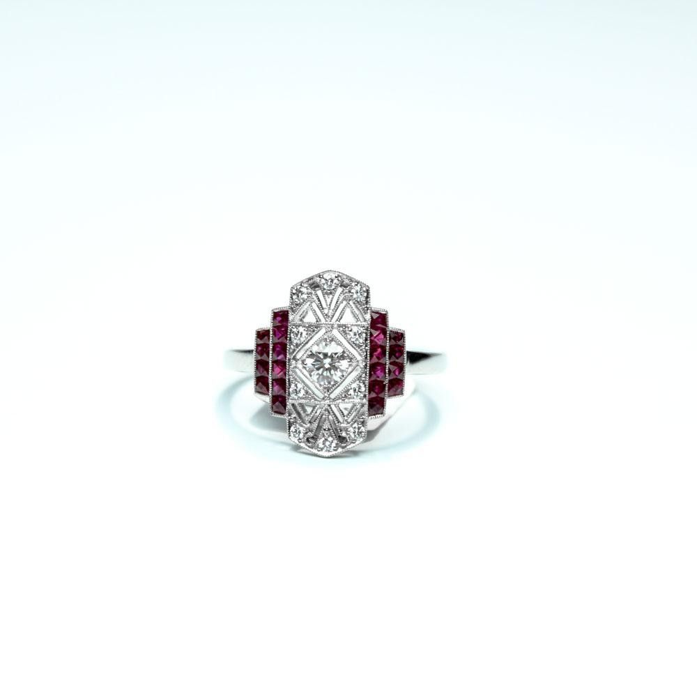 This Stunning Vintage Inspired Platinum Ring Features Custom Cut