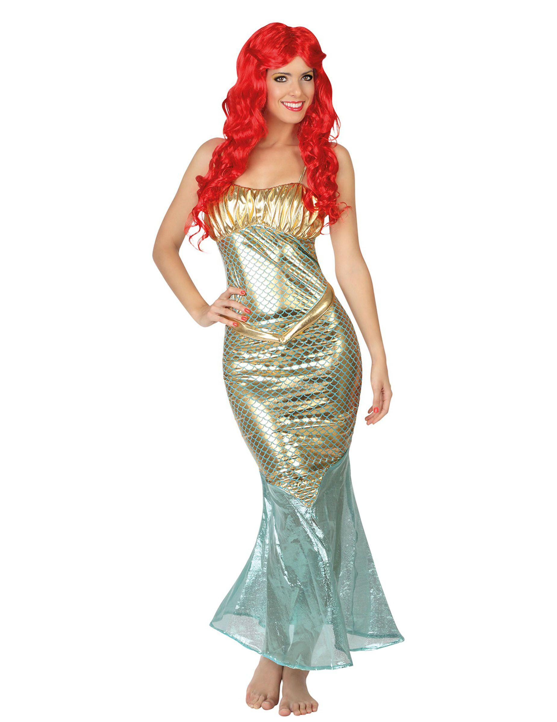 Déguisement sirène femme   Ce déguisement de sirène pour adulte est composé  d une robe (perruque non incluse). La robe à bretelles est scintillante. 6a2fa569ed8