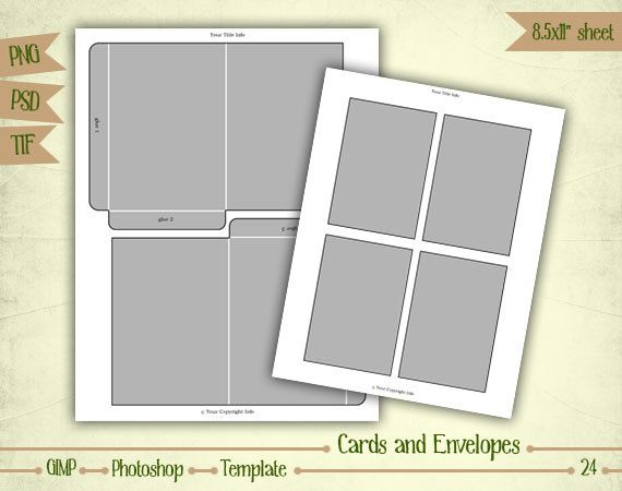 Digital Po Collage Template | Cards And Envelopes Digital Collage Sheet Layered Template T024