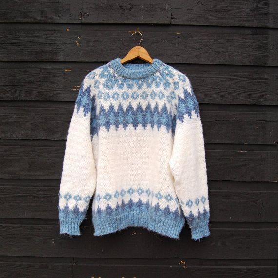 70's Norwegian Sweater, Vintage Fair Isle Sweater, Blue + Ivory ...