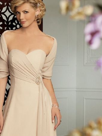 A-Line Beige Chiffon Strapless Sweetheart Oblique Ruffles And ...