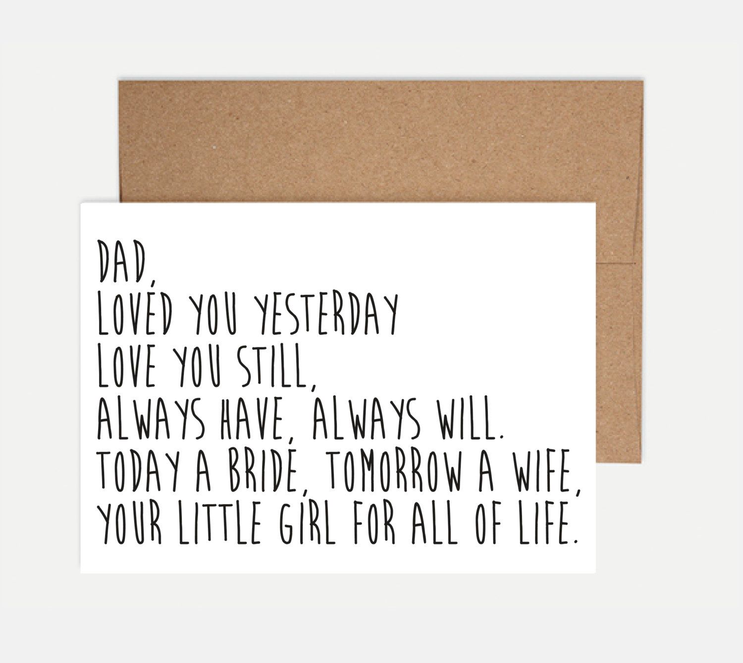 Father Of The Bride Card Wedding Card Wedding Envelope Printing
