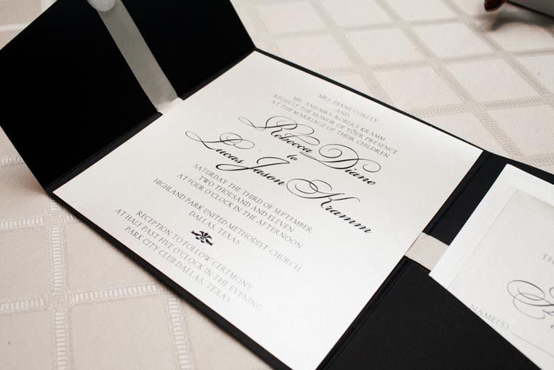 Black White Wedding Invitation Significant Events Of Texas