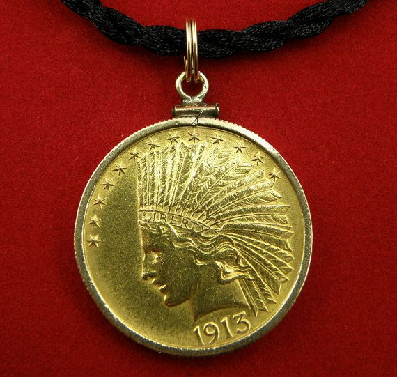 Gold 1913 10dollar Indian Head Eagle Coin By Diamondmastersuscoin Gold Coin Jewelry Gold Coins Pendant Set