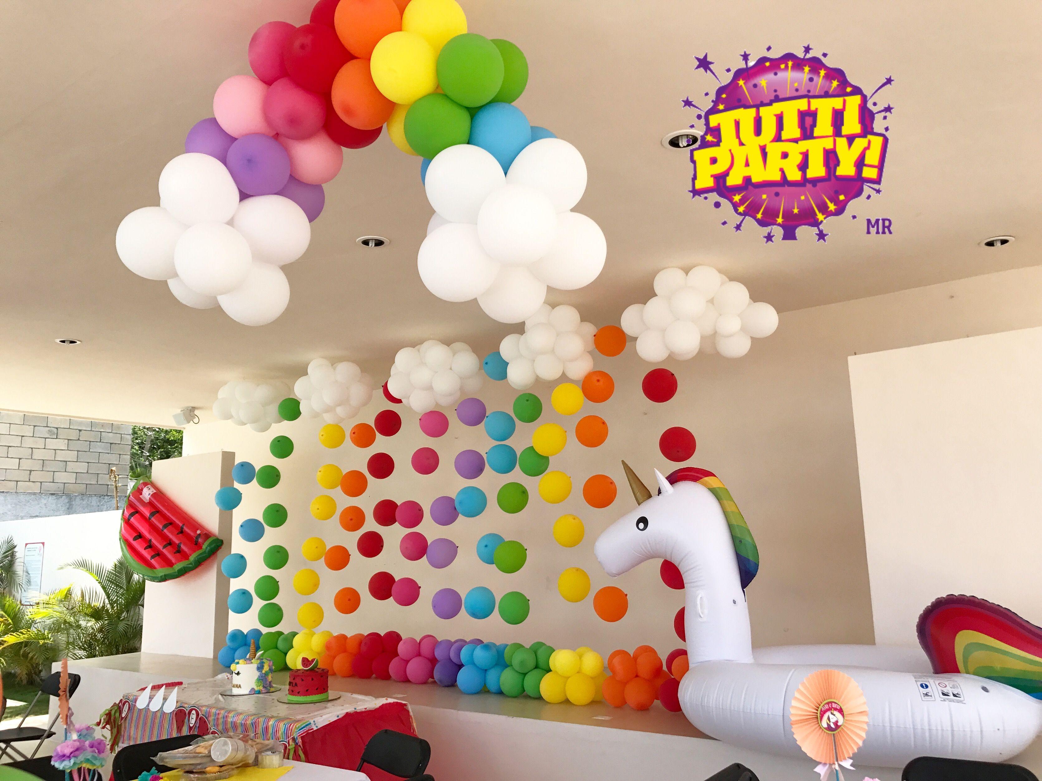Rainbow party ideas, ventas@tuttiparty.mx unicorn watermelon party
