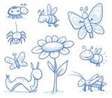 Vektor: Set of cute little cartoon insects and small animals: Bugs, bee, caterpillar, butterfly, firefly, spider, grasshopper and flower. For children or baby shower cards. Hand drawn vector illustration.