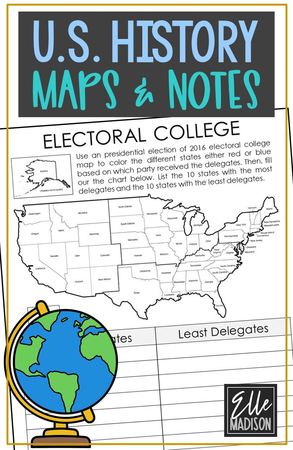 Social Studies Unit Study Us American History Worksheet And Maps Note Pages Social Studies Worksheets Social Studies Social Studies Middle School