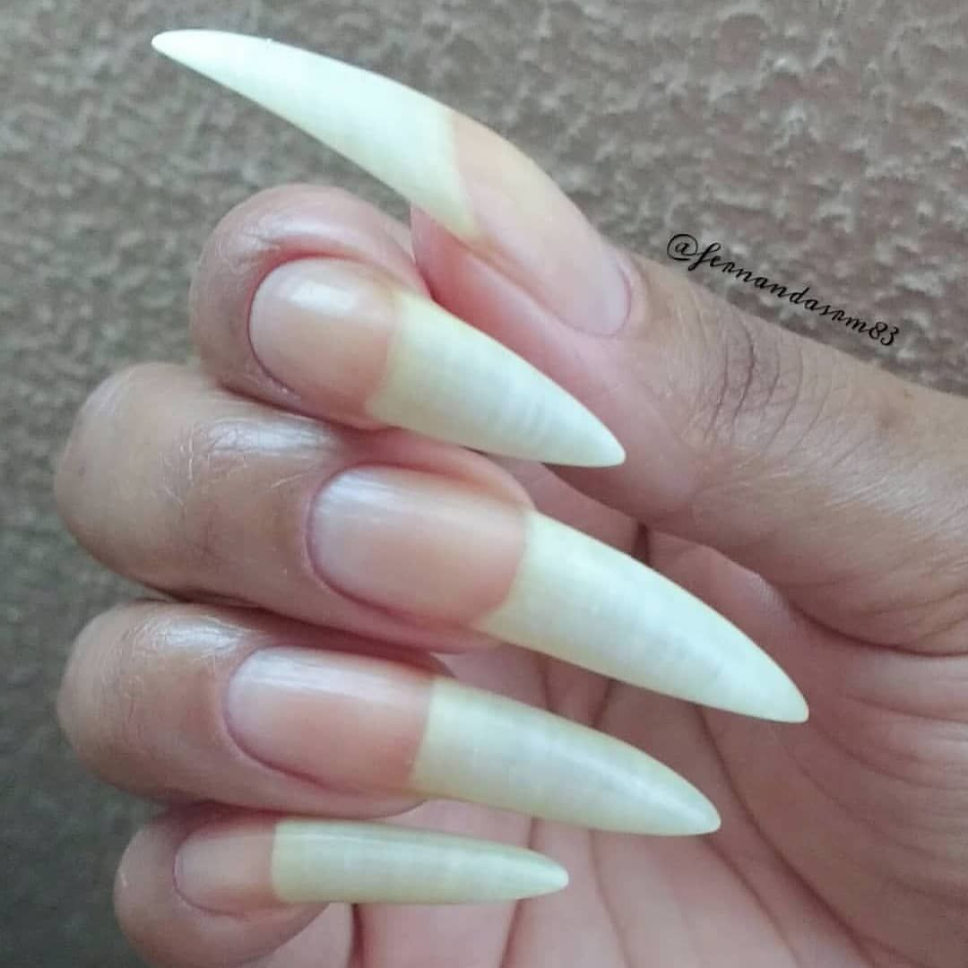 Image May Contain One Or More People Curved Nails Long Nails Long Natural Nails
