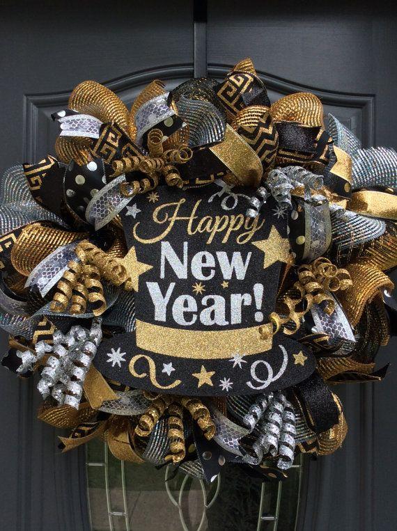 New Year Wreath,New Year's Eve Wreath, Celebtation Wreath