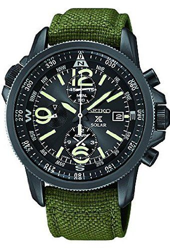 93499c6db92 Seiko SSC295P1 Prospex Men s Solar Military Alarm Chronograph 100m Water  Resistant