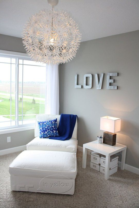 Grey room white trim brown furniture gray blue and Master bedroom light blue walls