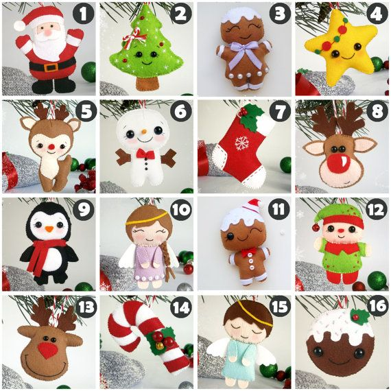 Christmas ornaments felt ornament Christmas felt Decor Big set cute