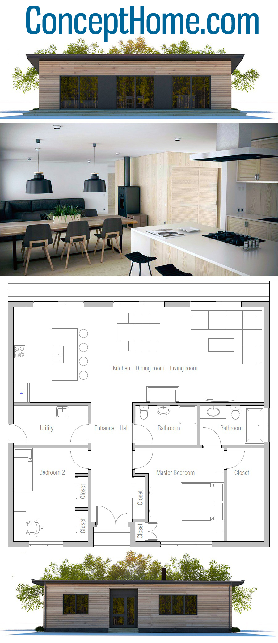 Home Plan Ch432 Courtyard House Plans Bedroom House Plans Two Bedroom House