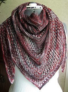 Knitted Scarf Pattern With Sock Yarn : What a beautiful accessory! This triangular scarf would be terrific knitted u...