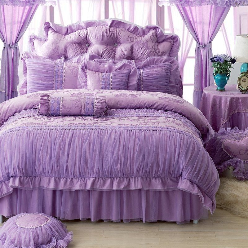 Sophisticated Elegant Solid Purple Vintage Romantic Applique Noble Excellence Ruched Frilly Feminine C Bedding Sets Lace Bedding Set Duvet Cover Master Bedroom