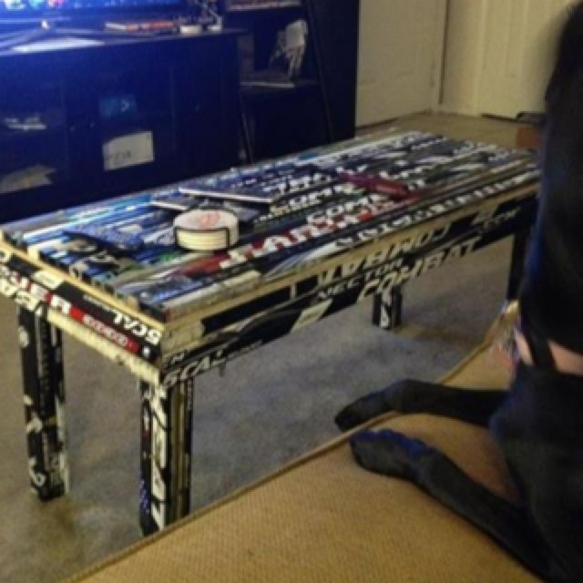 Nice Totally Awesome Coffee Table My Sweet Cousin Nick Made From Recycled Hockey  Sticks! Super Cool. Boy Dorm RoomsHockey ...