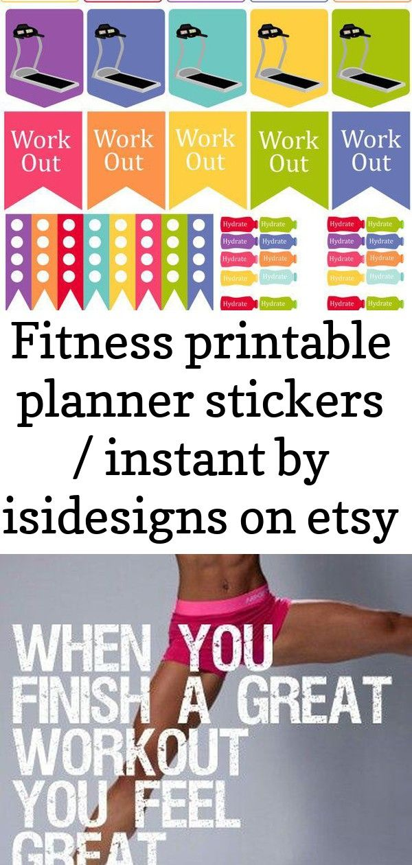 Fitness printable planner stickers / instant by isidesigns on etsy