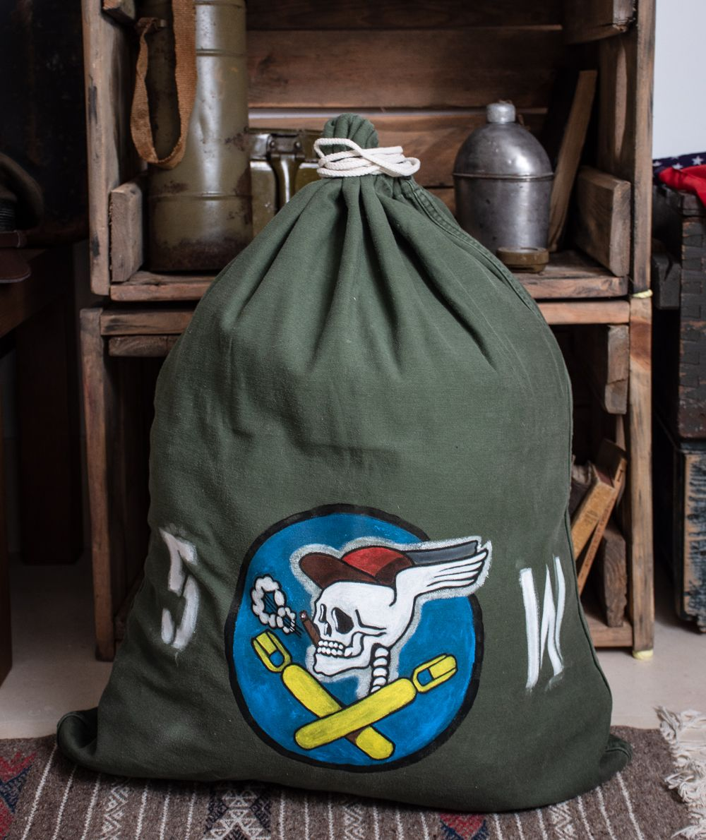 Vintage Wwii Hand Painted Military Laundry Bag 587th Bombardier