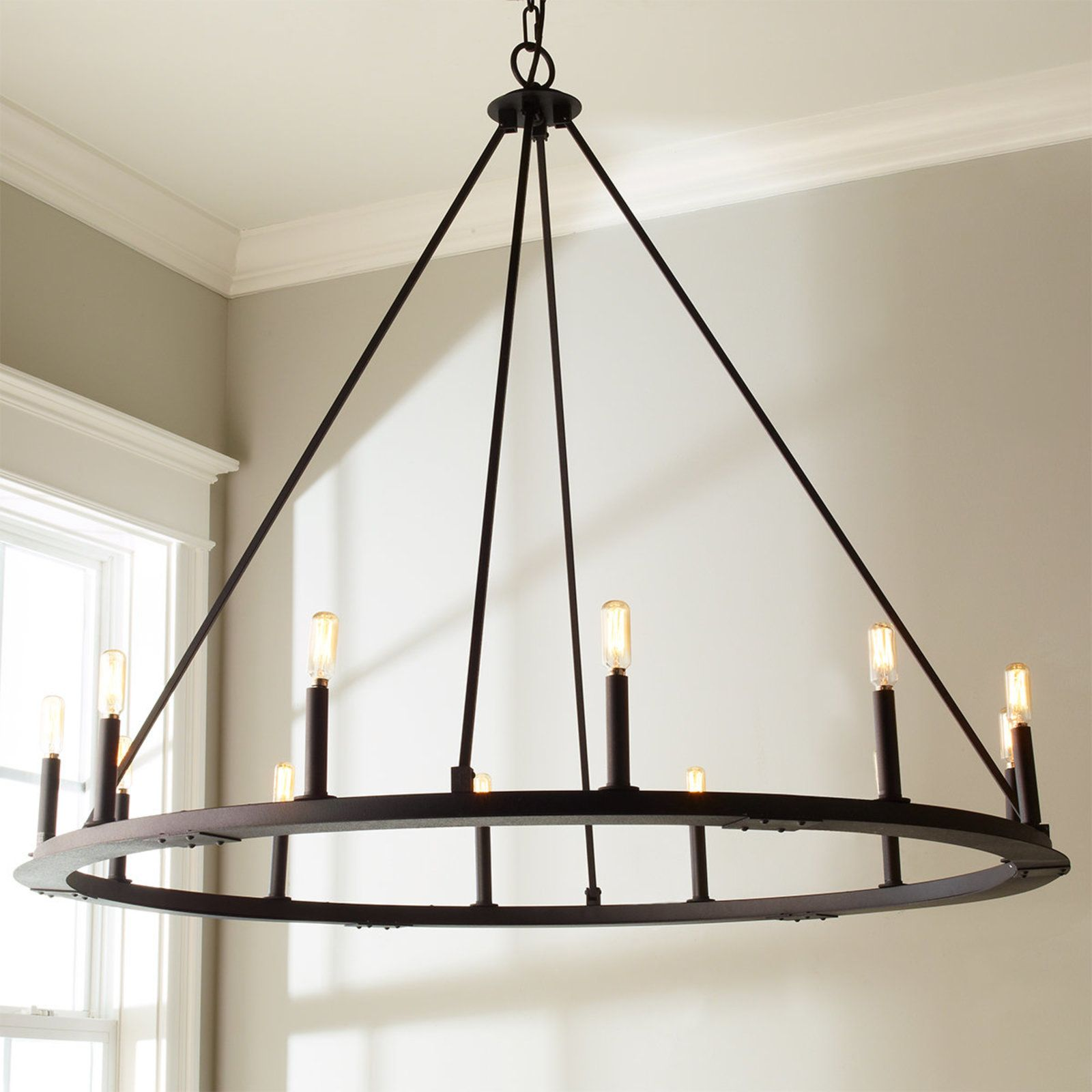 Aiwen Wrought Iron Lamps Country Retro Simple Chandelier Black 12