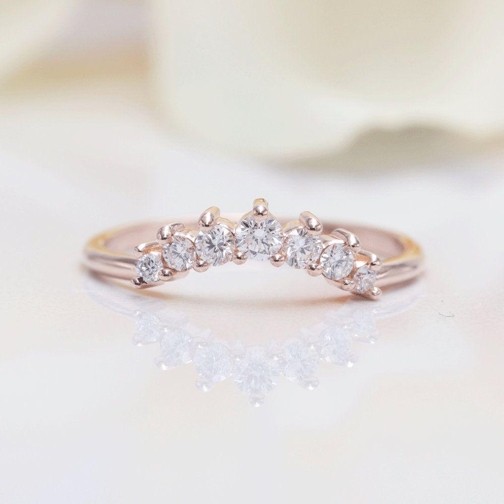 14k Gold Diamond Crown Ring Princess Crown Ring Matching Band Gold Crown Ring Tiara Unique Engagement Rings Sapphire Sapphire Engagement Ring Blue Unique Rings