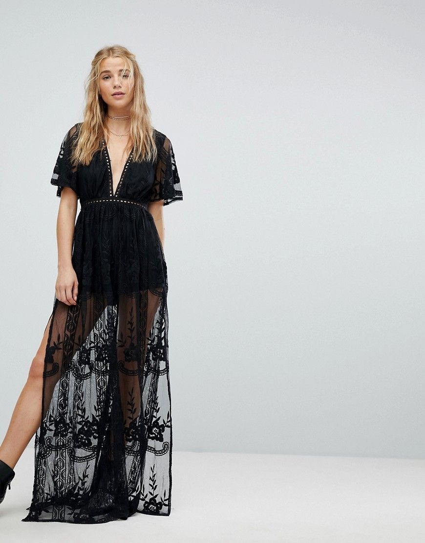 981b16e31c Kiss The Sky Plunge Maxi Romper With Sheer Embroidered Mesh Overlay -  Jumpsuits For Women Formal