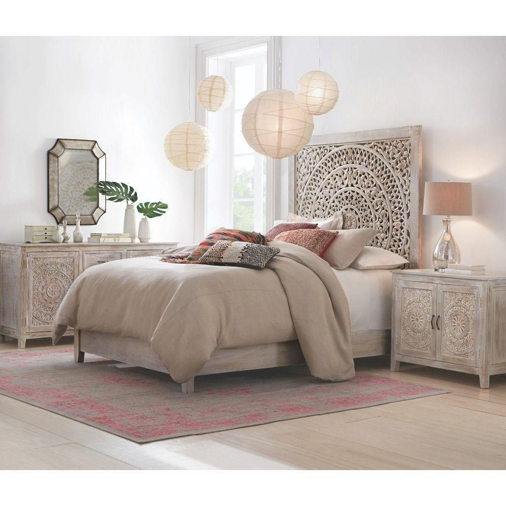 Mystical Mandala Carved Wood Boho Bed Compare To Anthropologie Lombok Bed 2995 00 Product Description Our Bedroom Sets Bedroom Design White Washed Nightstand