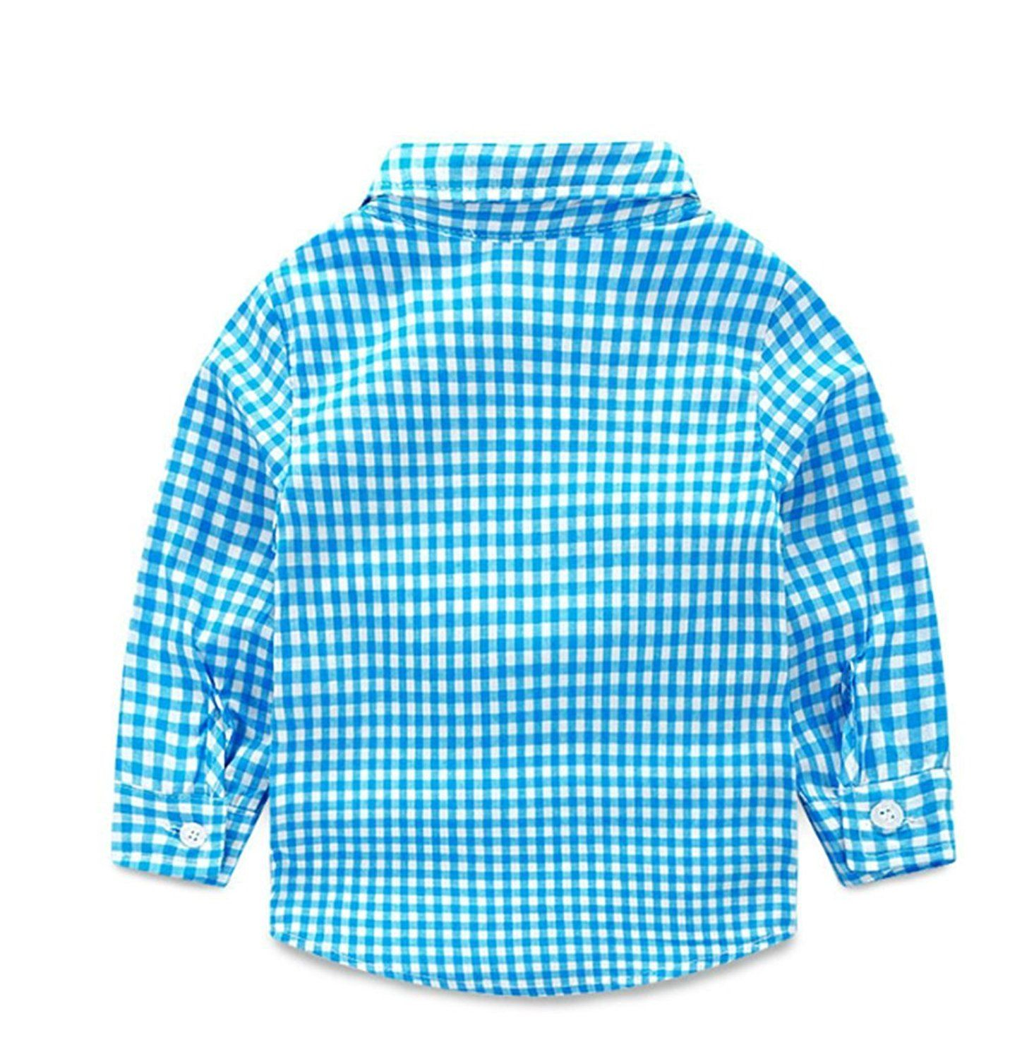 Flannel shirt for baby boy  Baby Boys Gentleman Long Sleeve Plaid Shirt and Suspender Pants Set