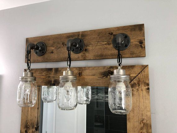 Rustic Industrial Modern Mason Jar Lights Vanity Light: DARK WALNUT Vanity Light Fixture, Country-Style Mason Jar