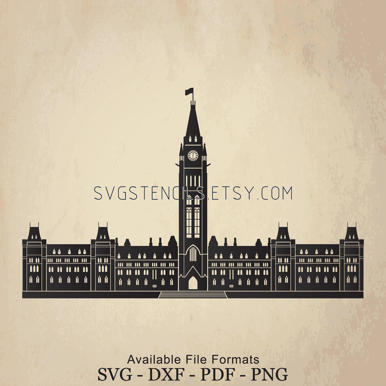 Svg Ottawa Parliament Hill Building Stencil Silhouette Etsy Silhouette Images Svg Silhouette