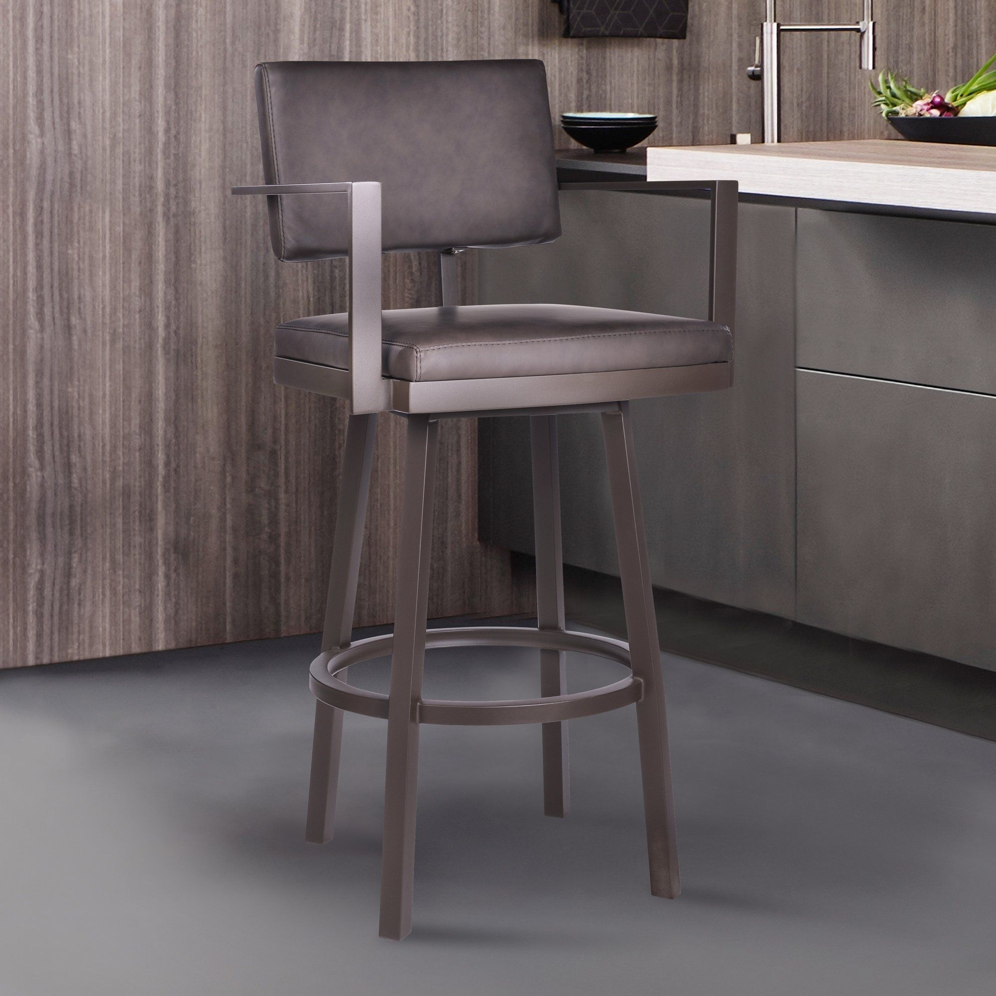 Pleasing Armen Living Balboa Barstool With Arms In A Brown Powder Bralicious Painted Fabric Chair Ideas Braliciousco