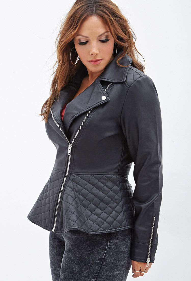 Quilted Peplum Moto Jacket | FOREVER21 PLUS - 2000138303