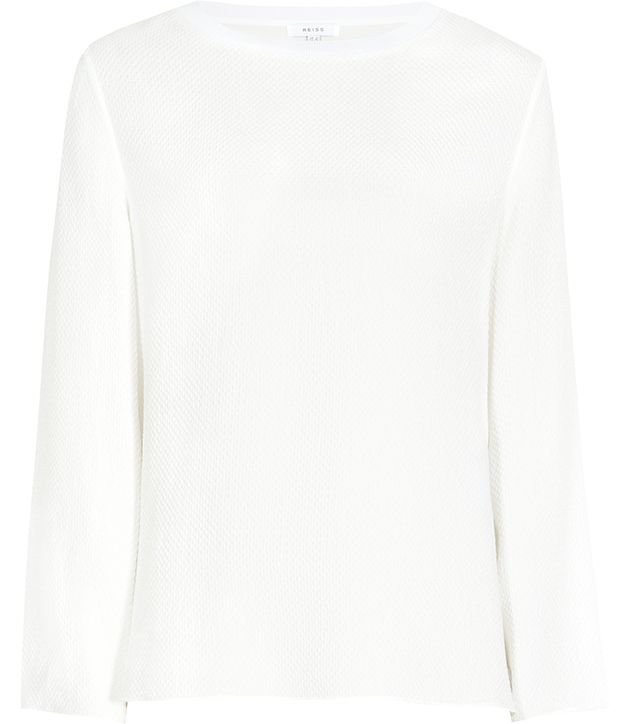 Reiss Yasmin Off White  Textured Long-Sleeved Top-$240.00