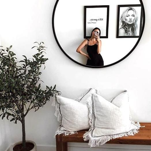 Black Round Wall Mirror 24 Inch Large Round Mirror Rustic Accent Mirror For Bathroom Entry Dining Room Living Room Metal B In 2020 Home Decor Decor Retro Home Decor