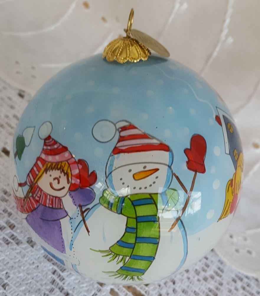 Pier 1 Li Bien Hand Painted Glass Christmas Ornament 2015 Snowmen & Children