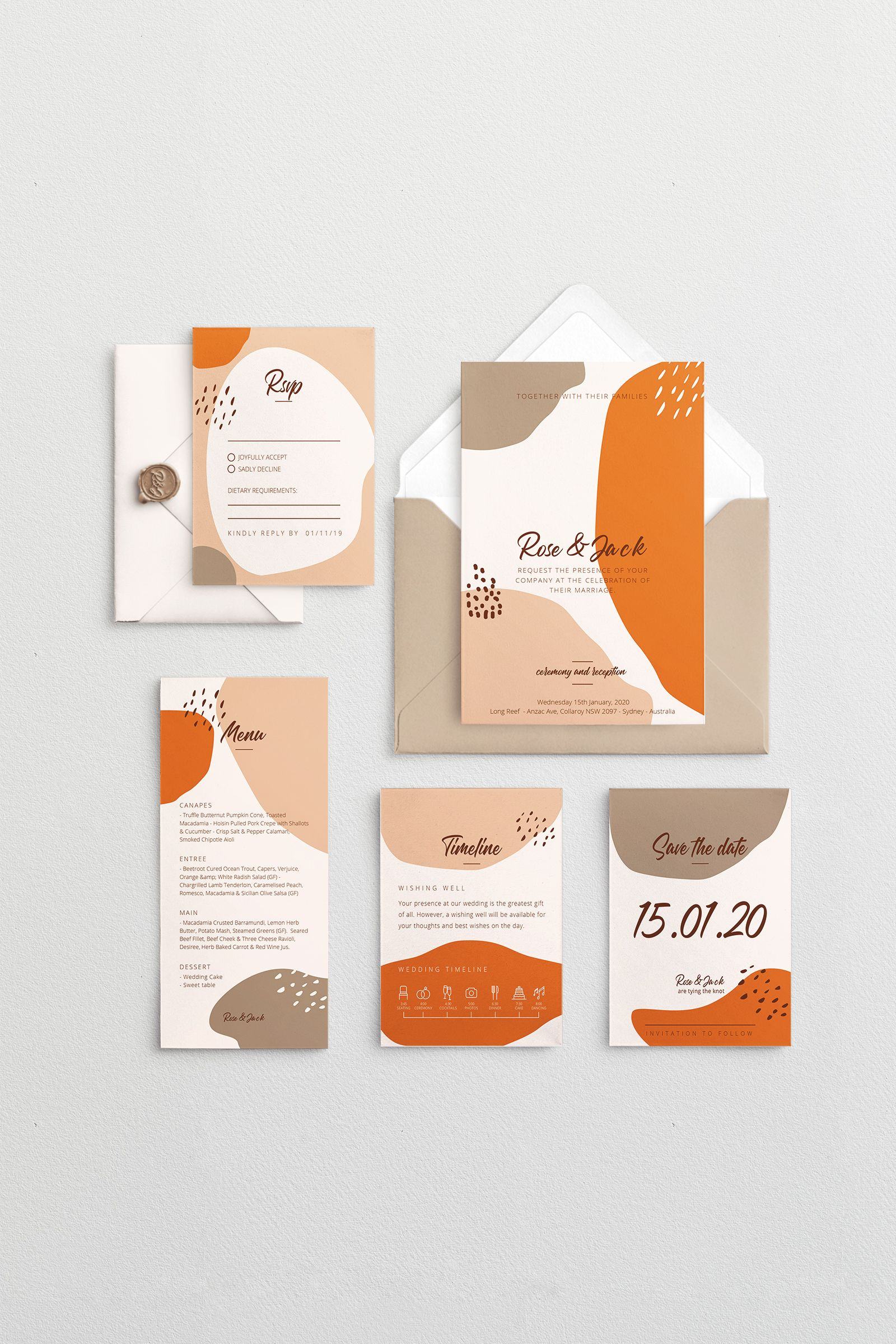 Geo Terracotta Theme Template Set Wedding Invitations
