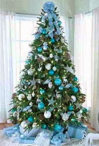 Arvore De Natal Com Enfeites Azul E Branco Com Imagens