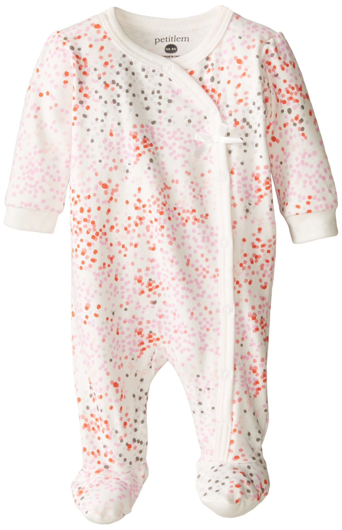 ff1843d79 Petit Lem Baby-Girls Newborn Footed Pajama Sleeper Multi Dots, White/Pink  Dots, 3 Months