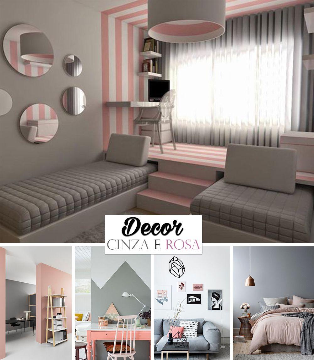 Inspiração de decoração nas cores cinza e rosa O combo  ~ Quarto Rosa E Branco Para Jovem