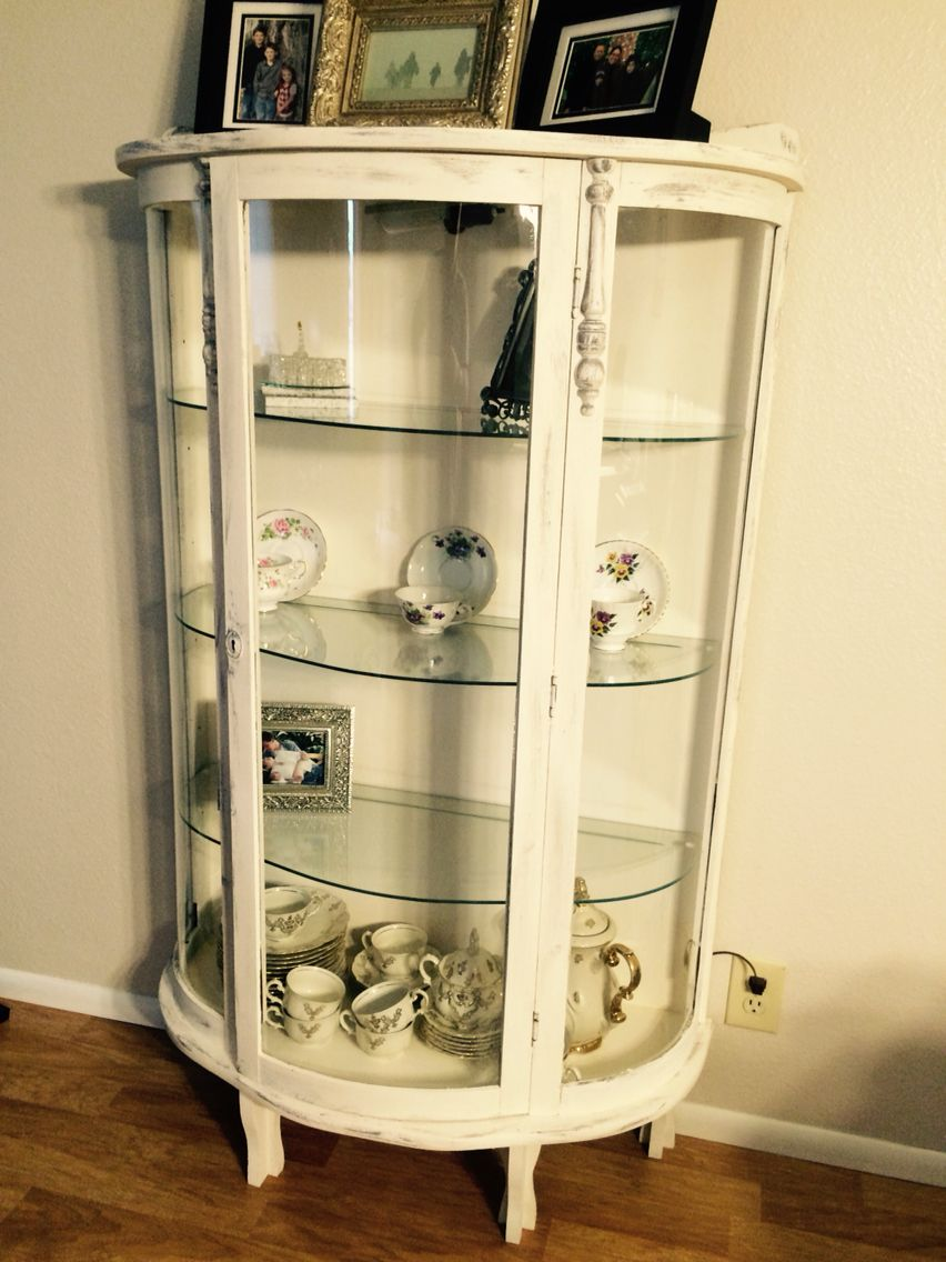 Grandmothers Curio Cabinet Up Cycle Painted It With An Antique White Chalk Paint Distressed In Dark G Painted Curio Cabinets Curio Cabinet Redo Curio Cabinet