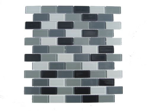 Gray Mosaic Subway Glass Tile 11 Sq ft Kitchen Backsplash Bathroom Shower | eBay