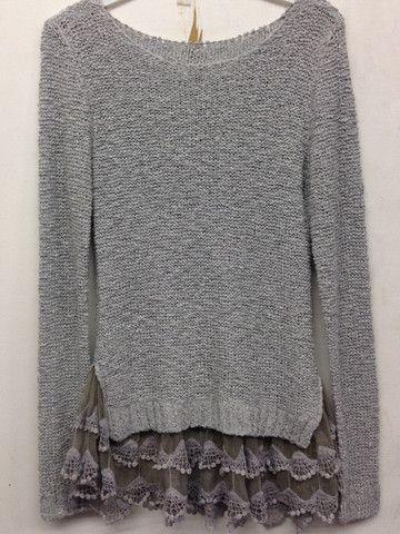 Grey Sweater With Lace Ruffle Bottom | Bellum&Rogue