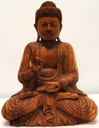 Carved Wood Gautama Buddha Statue -