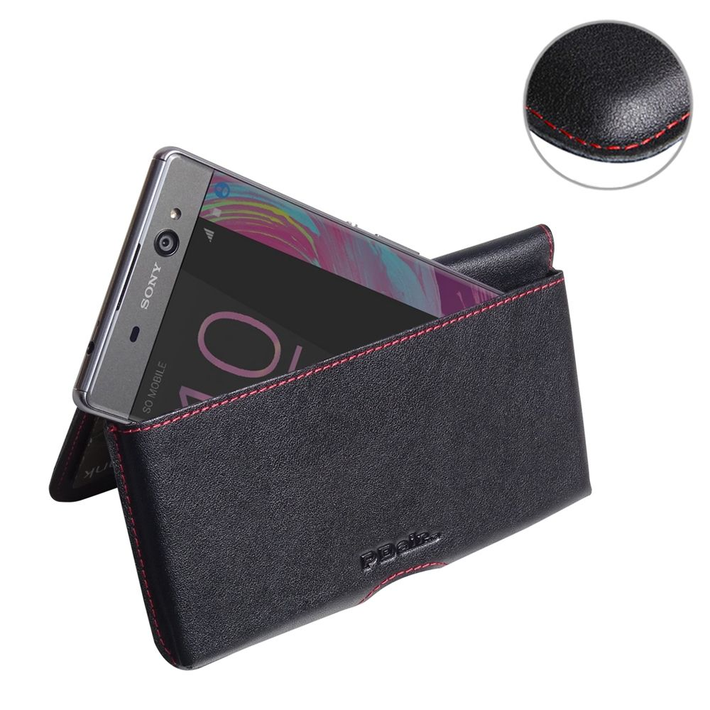 Leather Wallet Pouch for Sony Xperia XA Ultra (Red Stitch