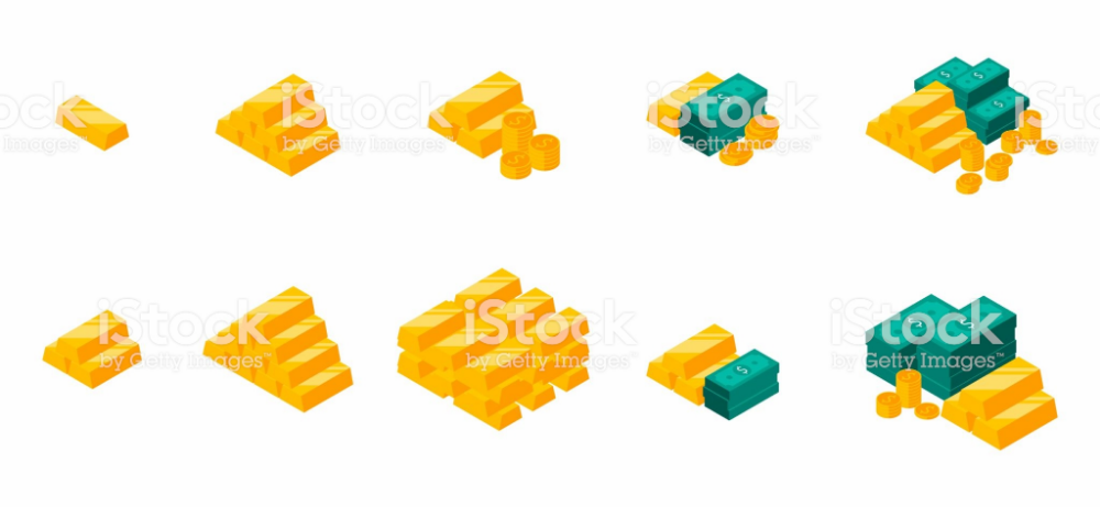 Gold Bars Pile Isometric Dollars Bundles Money Dollar Pile Of Free Vector Art Gold Bar Isometric