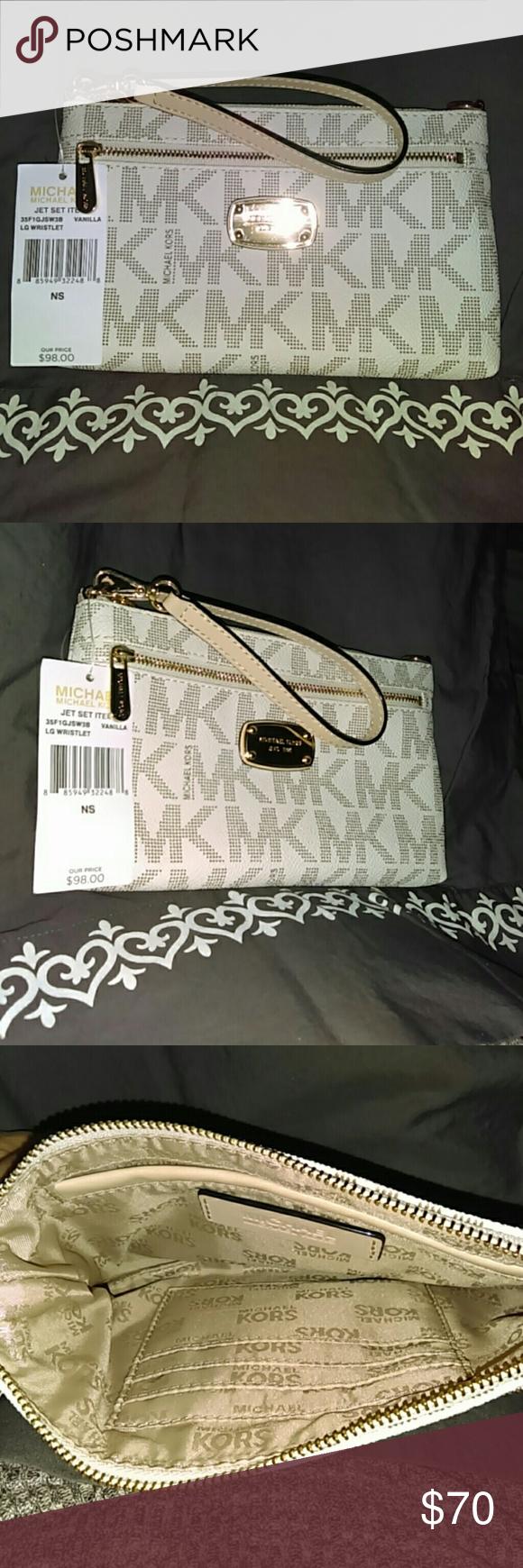 ce7d37798aada Michael Kors jet set vanilla large wristlet 100% authentic brand new tags  still on it