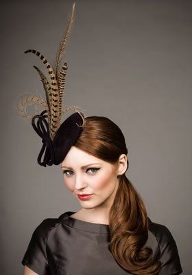 Luxury fascinators and milineries R13W2 - Wine velour felt pillbox with  pheasant feathers 737e27d1f68