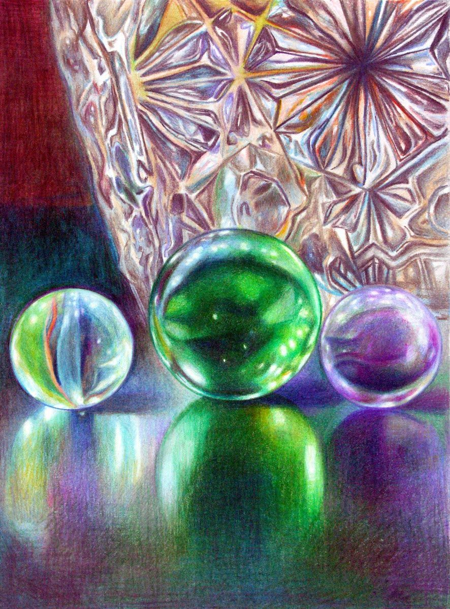Marble Colored Pencil Drawings Of Clusters : Marbles and crystal colored pencil by veronica winters