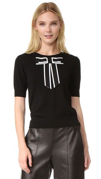 alice + olivia Danika Sweater with Oversized Bow